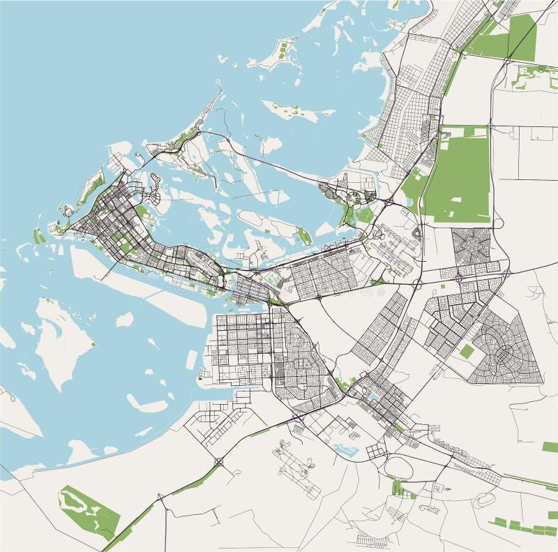阿布扎比,阿拉伯联合酋长国阿拉伯联合酋长国的地图 向量例证