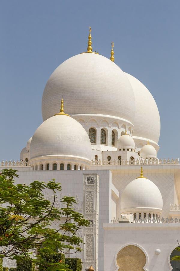 阿布扎比,阿拉伯联合酋长国,2015年7月7日:扎耶德,盛大清真寺回教族长 免版税库存图片