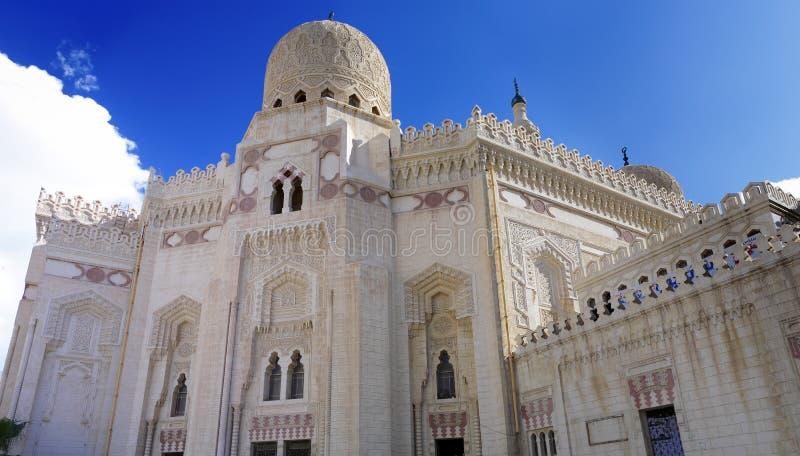 阿布格莱布El阿拔斯Masjid,亚历山大,埃及清真寺。 免版税库存照片