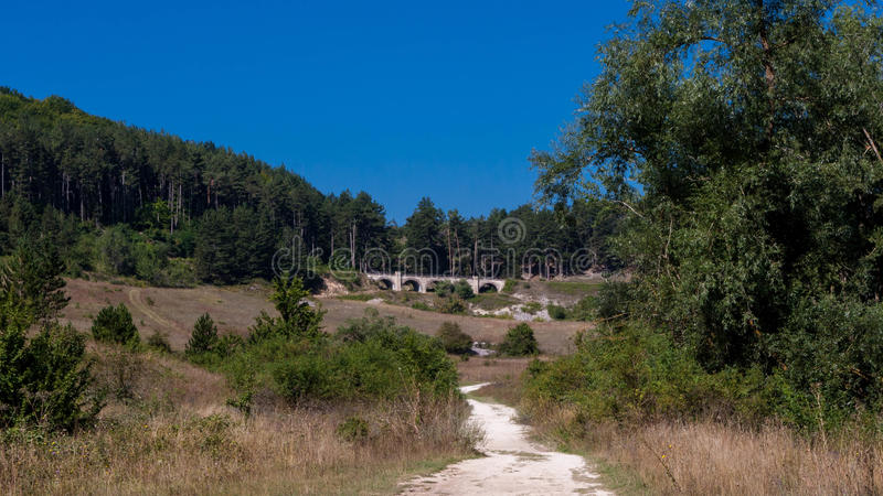 阿布鲁佐山景在意大利在夏天 库存图片