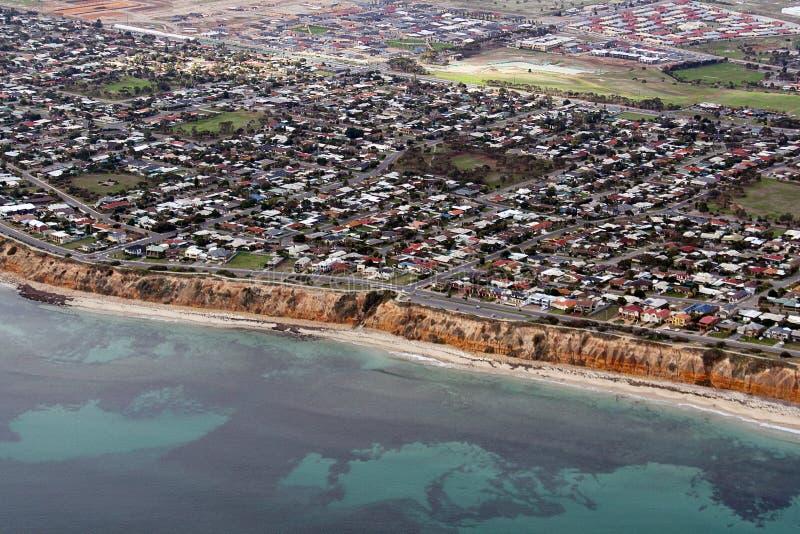 阿德莱德空中aldinga澳洲海滩视图 免版税库存照片