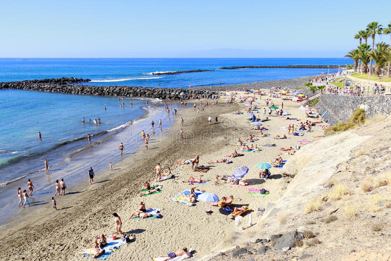 阿德赫海滩在特内里费岛 库存图片