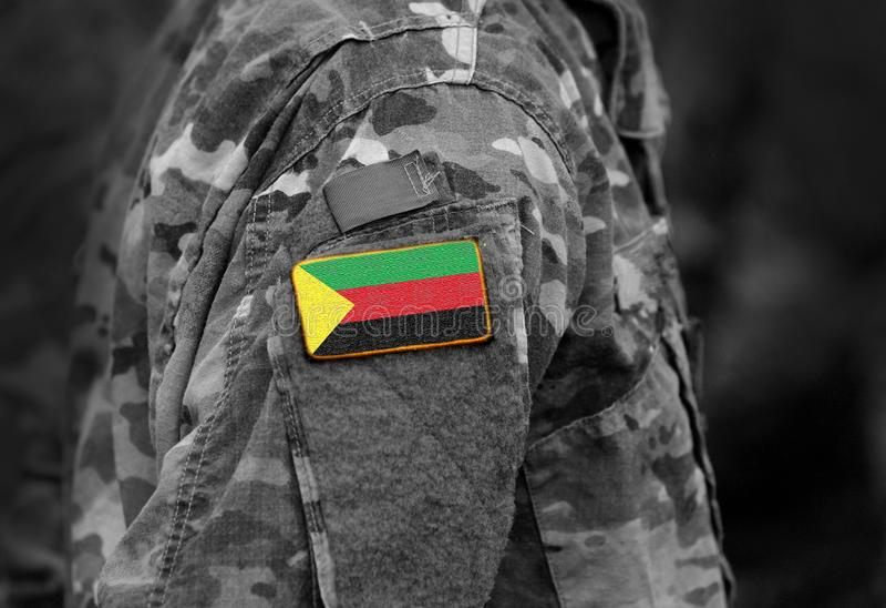 阿扎瓦德旗子战士的武装 阿扎瓦德状态旗子milit的 免版税图库摄影