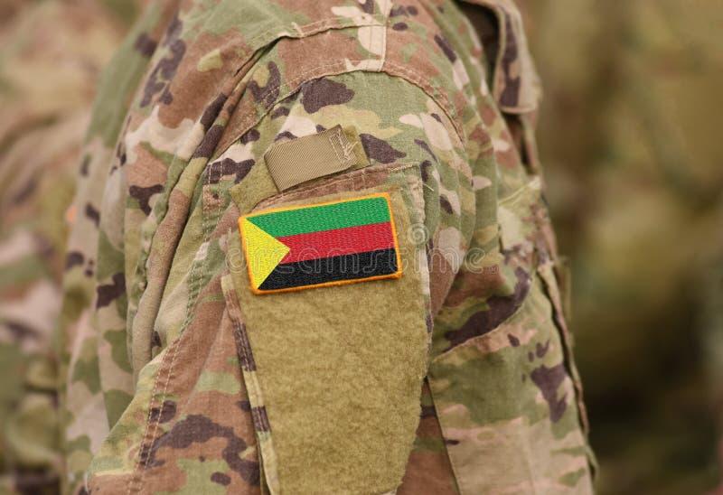 阿扎瓦德旗子战士的武装 阿扎瓦德状态旗子milit的 库存照片