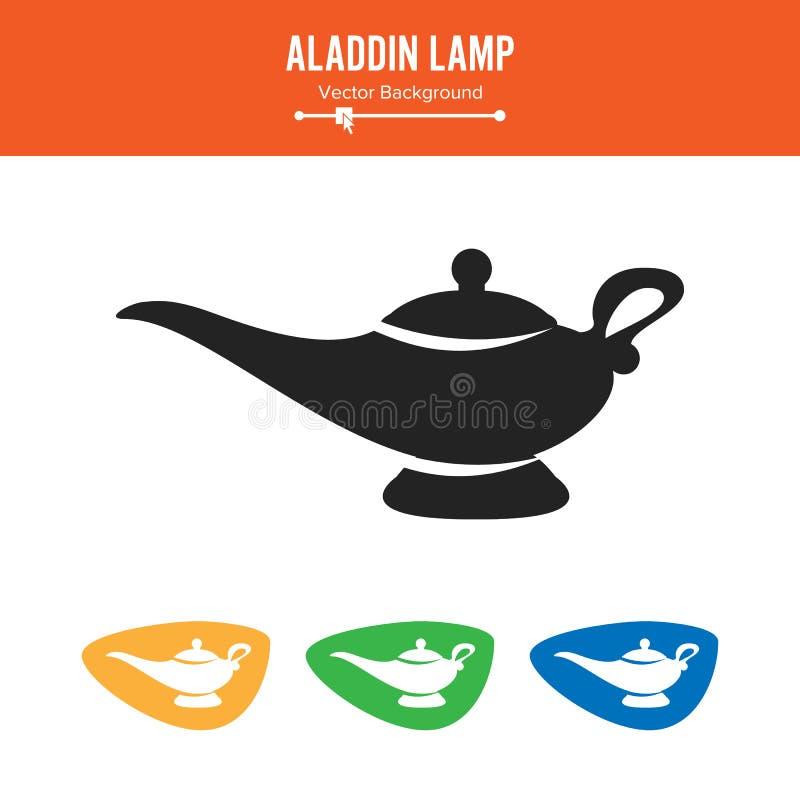 阿拉丁灯传染媒介 在白色背景隔绝的简单的黑剪影标志 向量例证