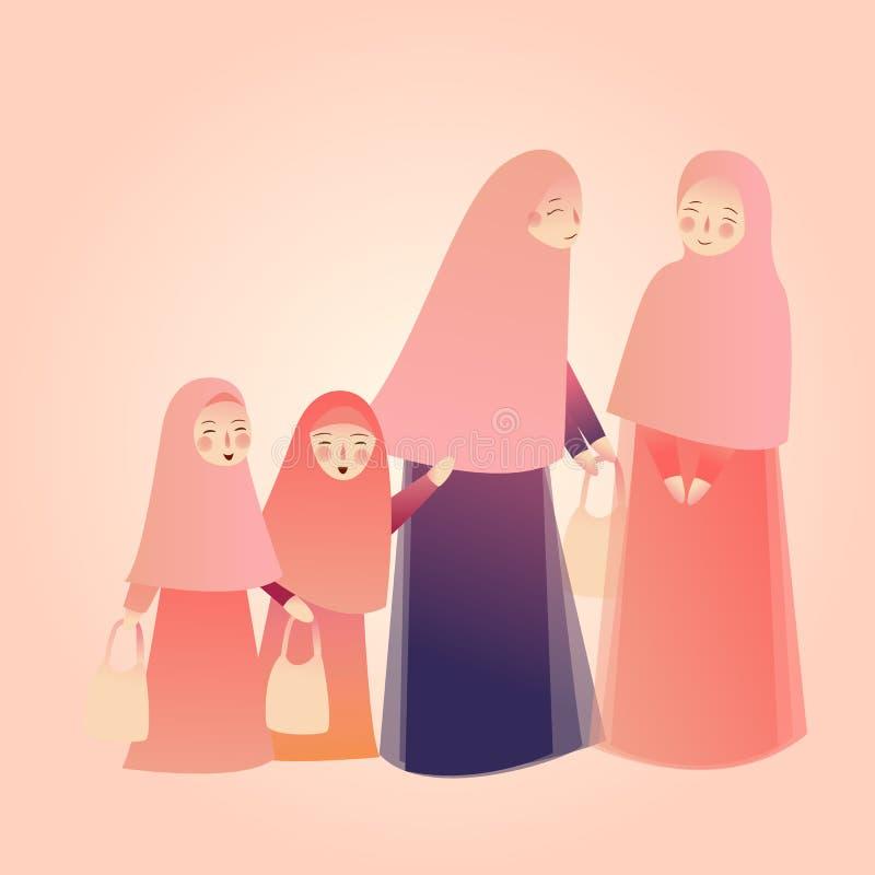 阿拉伯与家庭孩子的妇女运载的购物袋遇见朋友、佩带的abaya和hijab 向量例证