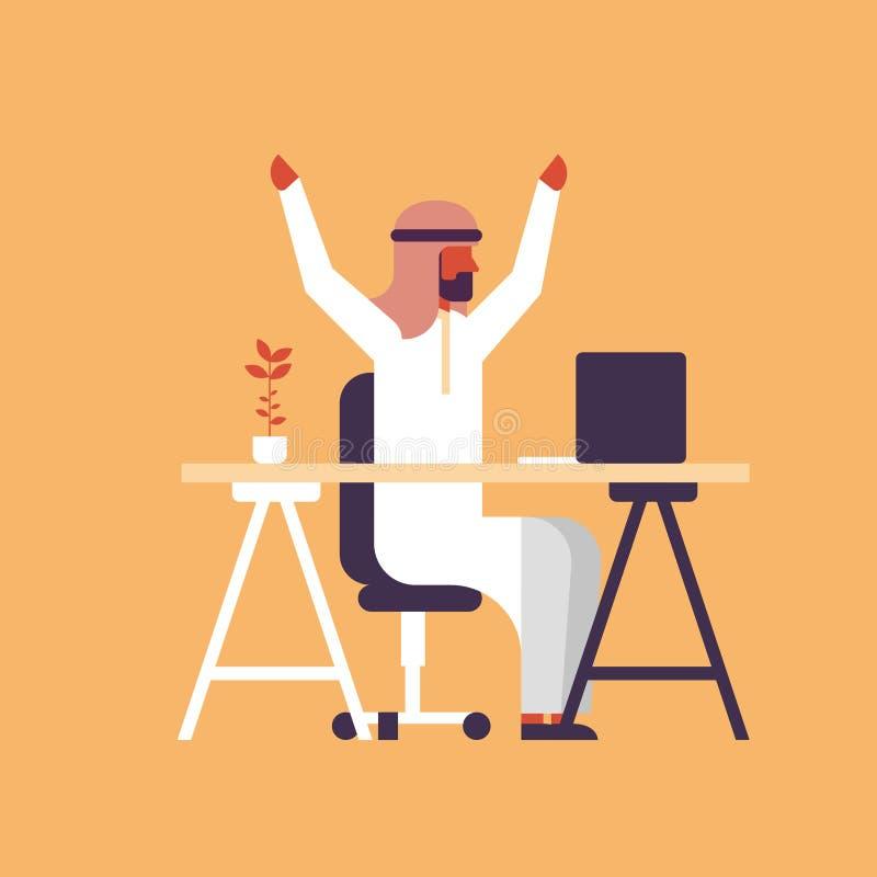 阿拉伯举手的商人坐的办公室桌工作场所成功的工作的战略概念阿拉伯人上升愉快 向量例证