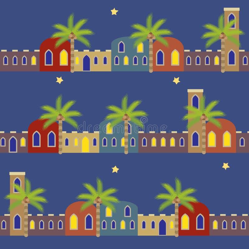 阿拉伯之夜安置无缝的样式背景 皇族释放例证