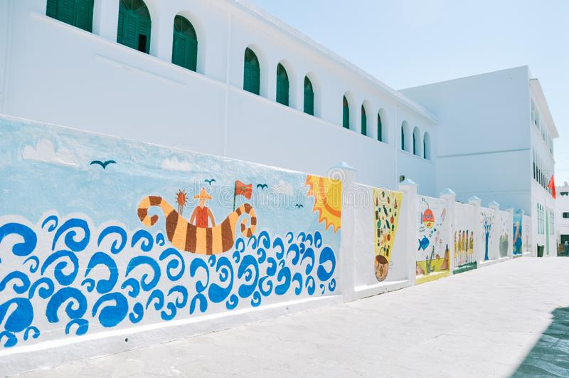 阿拉伯书法墙壁上的油漆  库存照片