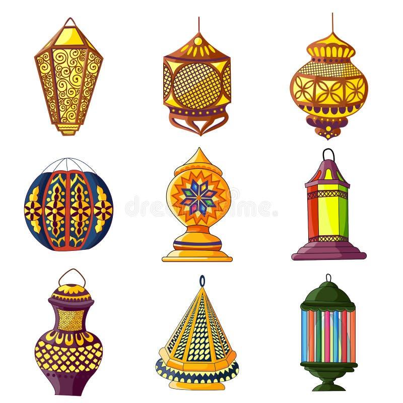 阿拉伯五颜六色的闪亮指示 库存例证