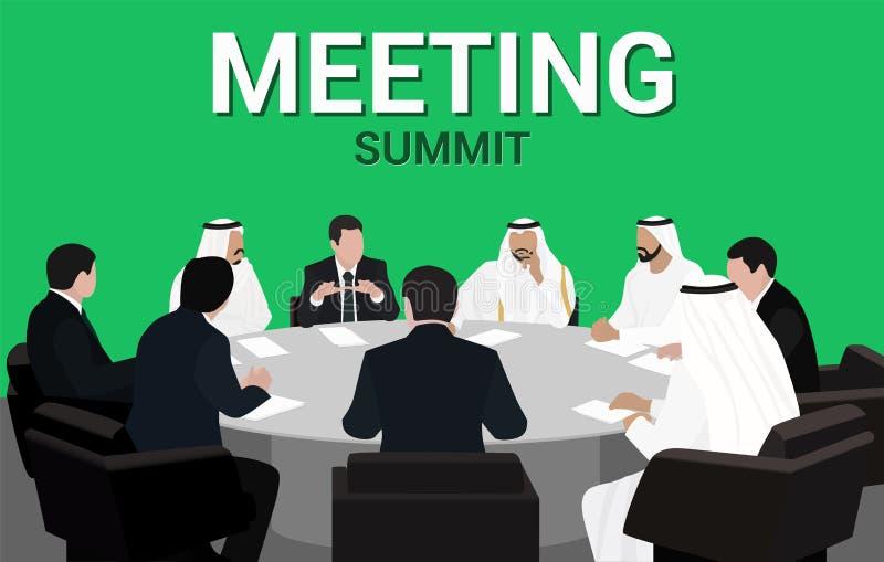 阿拉伯人和欧洲人商人会议圆桌 向量例证