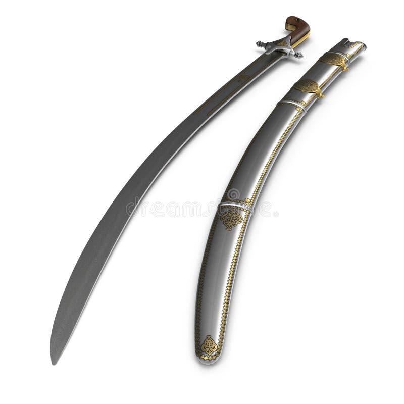 阿拉伯人有鞘的Saif剑在白色 3d例证 皇族释放例证
