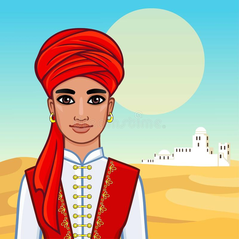 阿拉伯人的动画画象古老衣裳的 库存例证