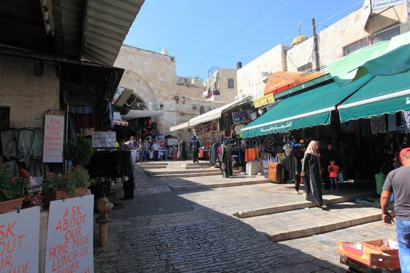 阿拉伯人Souk和大马士革门,耶路撒冷 免版税库存照片