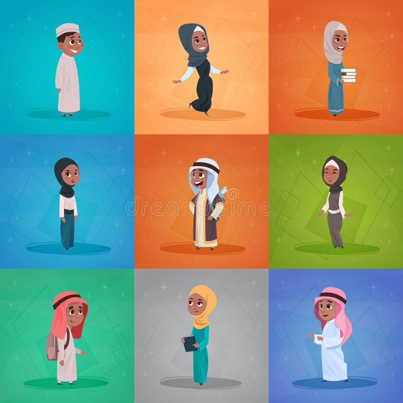 阿拉伯儿童女孩和男孩设置了小动画片学生汇集穆斯林学生 向量例证