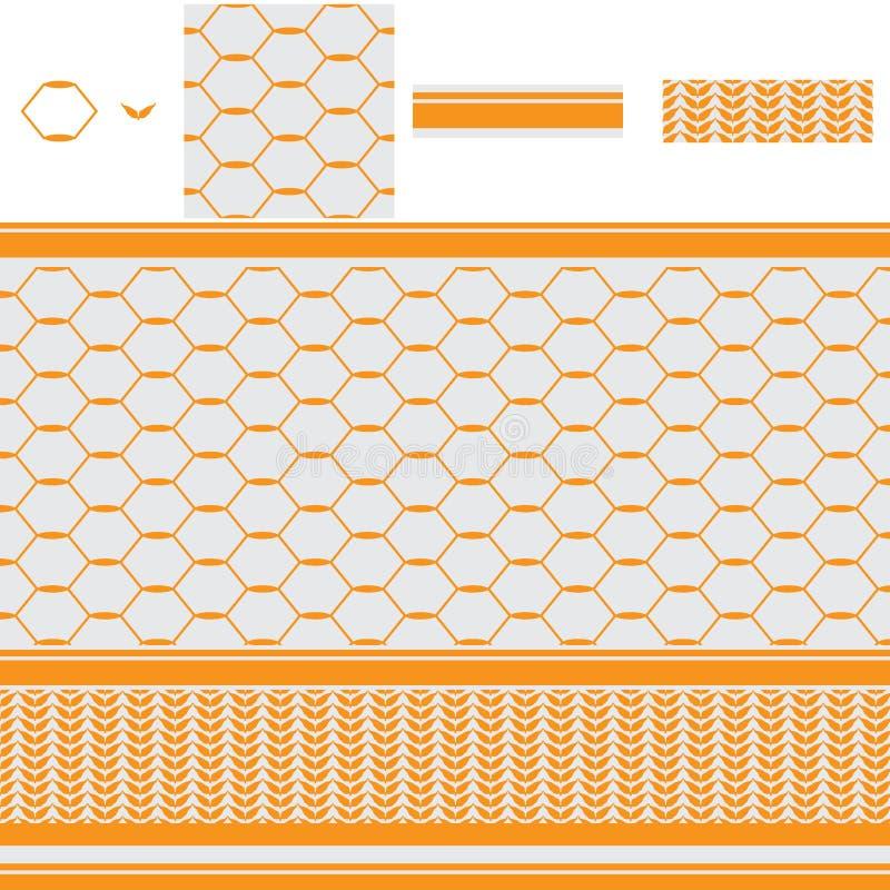 阿拉伯六角形圈子橙色无缝的样式 库存例证