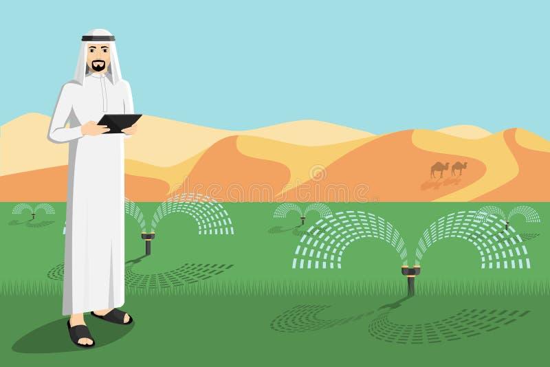 阿拉伯农夫控制灌溉系统 库存例证