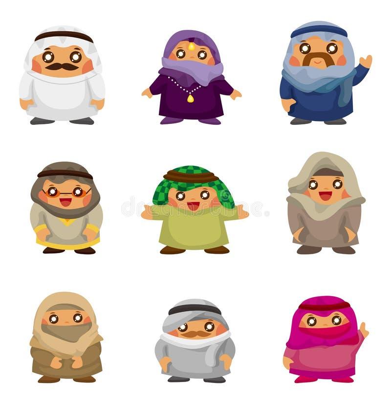 阿拉伯动画片图标人员 向量例证