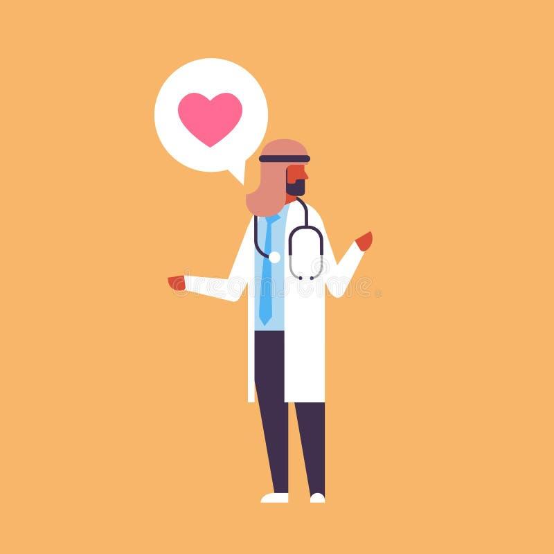 阿拉伯医生心脏象医疗网上咨询医疗保健概念阿拉伯人医院工作者phonendoscope男性 皇族释放例证