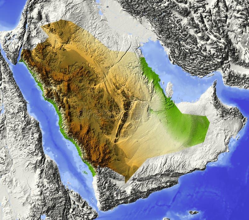 阿拉伯半岛映射替补沙特 皇族释放例证