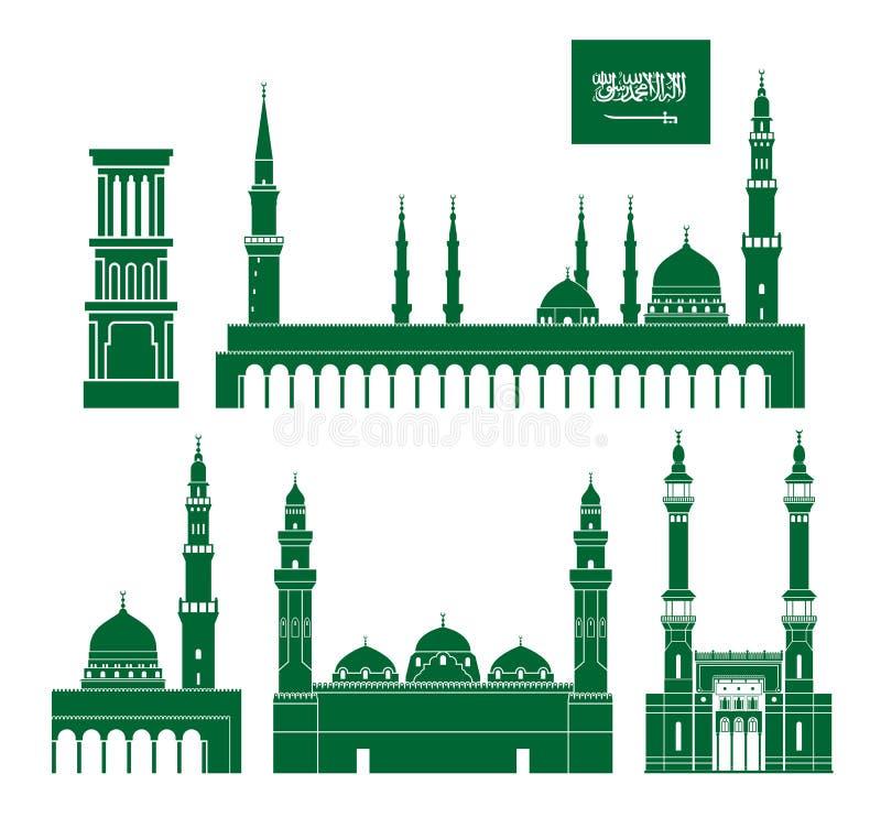 阿拉伯半岛背景边界国家(地区)详述标志图标查出的区域沙特集合形状白色 在白色背景的被隔绝的沙特阿拉伯建筑学 皇族释放例证