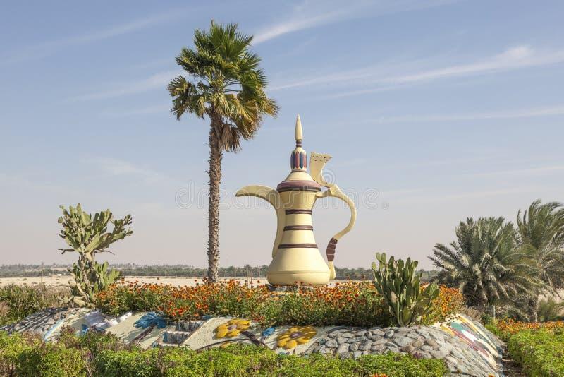 阿拉伯咖啡壶在Mezairaa,阿拉伯联合酋长国 免版税图库摄影