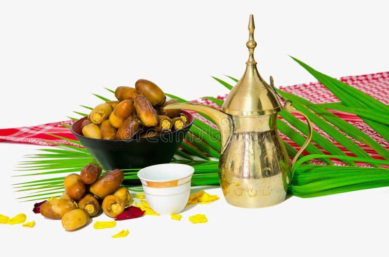 阿拉伯咖啡日期果子 免版税库存照片