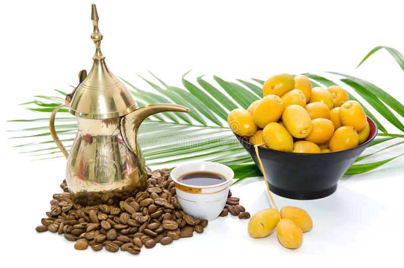 阿拉伯咖啡日期果子 免版税库存图片