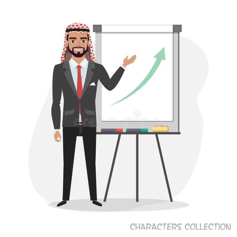 阿拉伯商人举行在活动挂图的一个介绍 库存例证