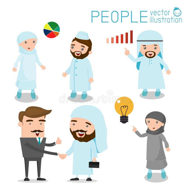 阿拉伯商人和阿拉伯女商人动画片字符集传染媒介,商人系列-阿拉伯人 向量例证