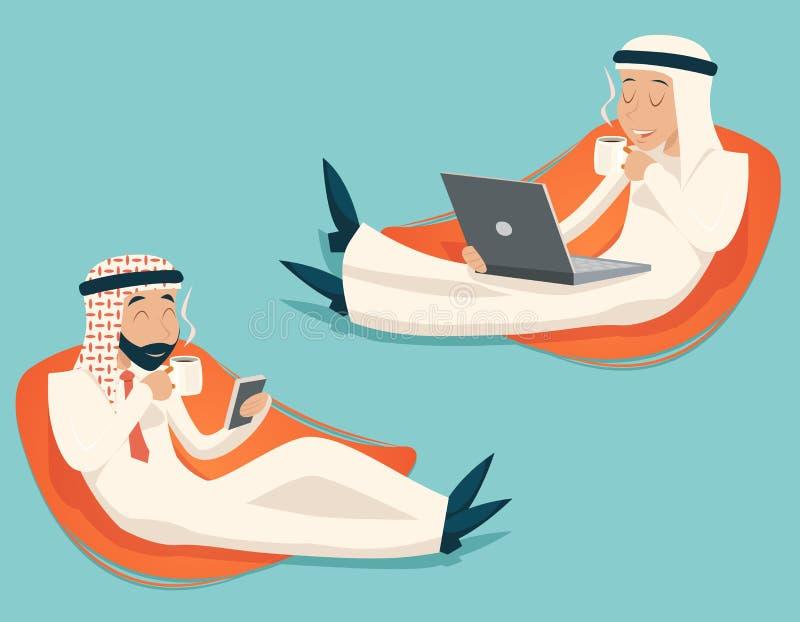 阿拉伯商人闲谈膝上型计算机手机饮料 库存例证
