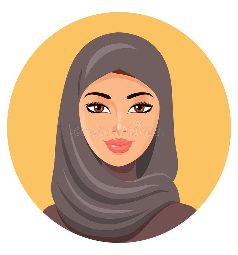 阿拉伯回教妇女的美丽的面孔hijab传染媒介illustrati的 皇族释放例证
