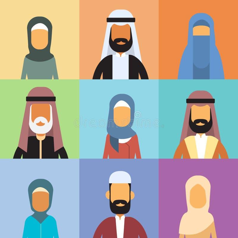 阿拉伯外形具体化集合象阿拉伯商人,画象回教买卖人汇集面孔 库存例证