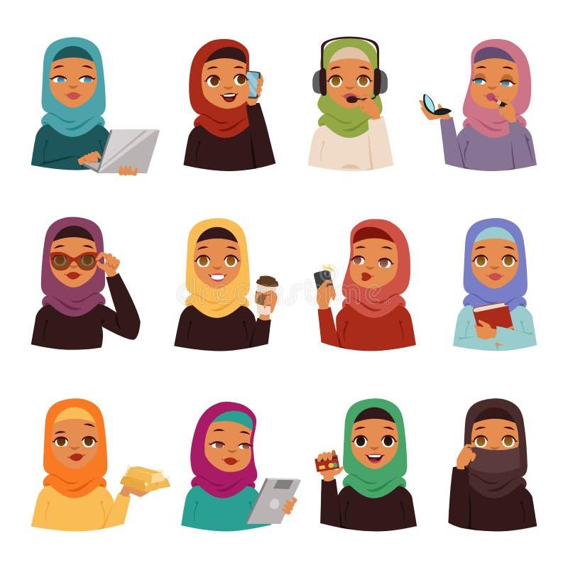 阿拉伯妇女传染媒介集合 库存例证