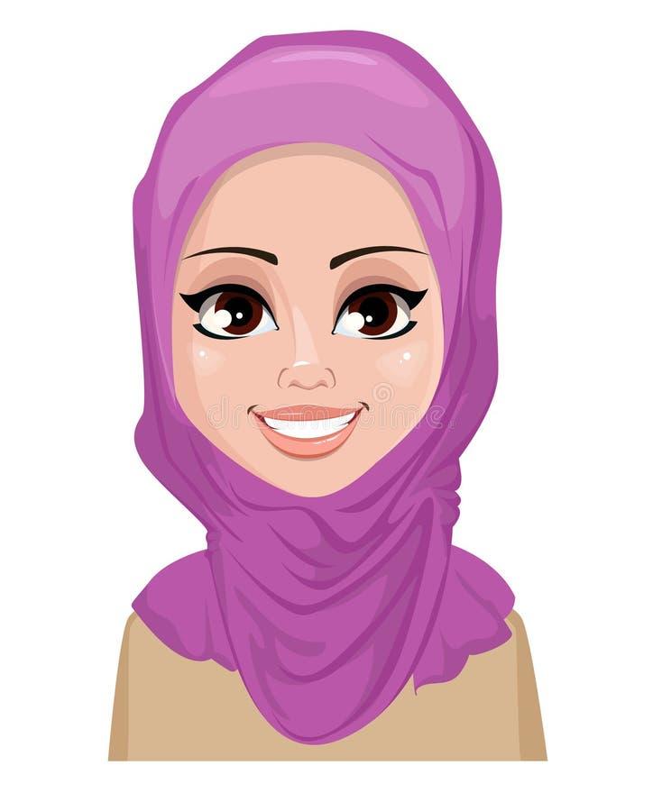 阿拉伯妇女面孔表示-微笑 向量例证