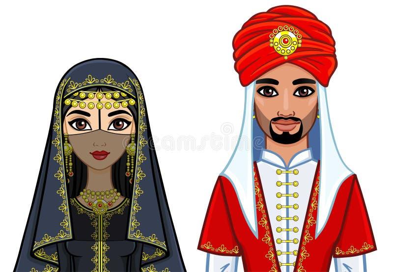 阿拉伯家庭的动画画象在传统衣裳的 向量例证