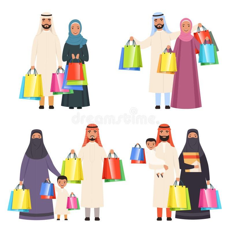 阿拉伯家庭购物 男女回教愉快的人民和孩子在与袋子的市场上导航被隔绝的漫画人物 向量例证