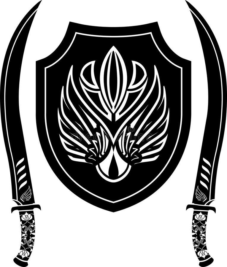 阿拉伯幻想盾剑 皇族释放例证