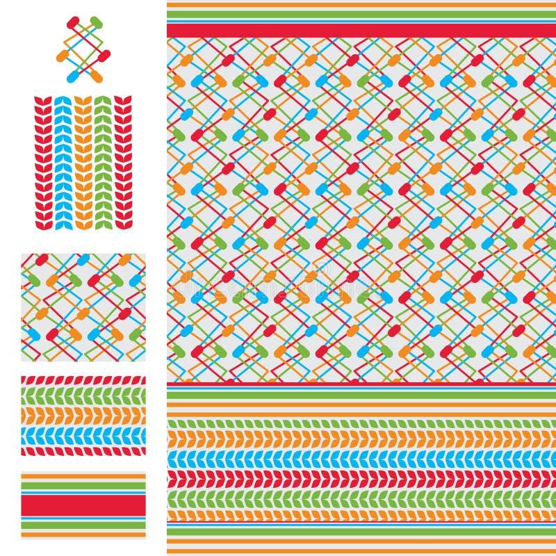 阿拉伯想法电五颜六色的无缝的样式 向量例证