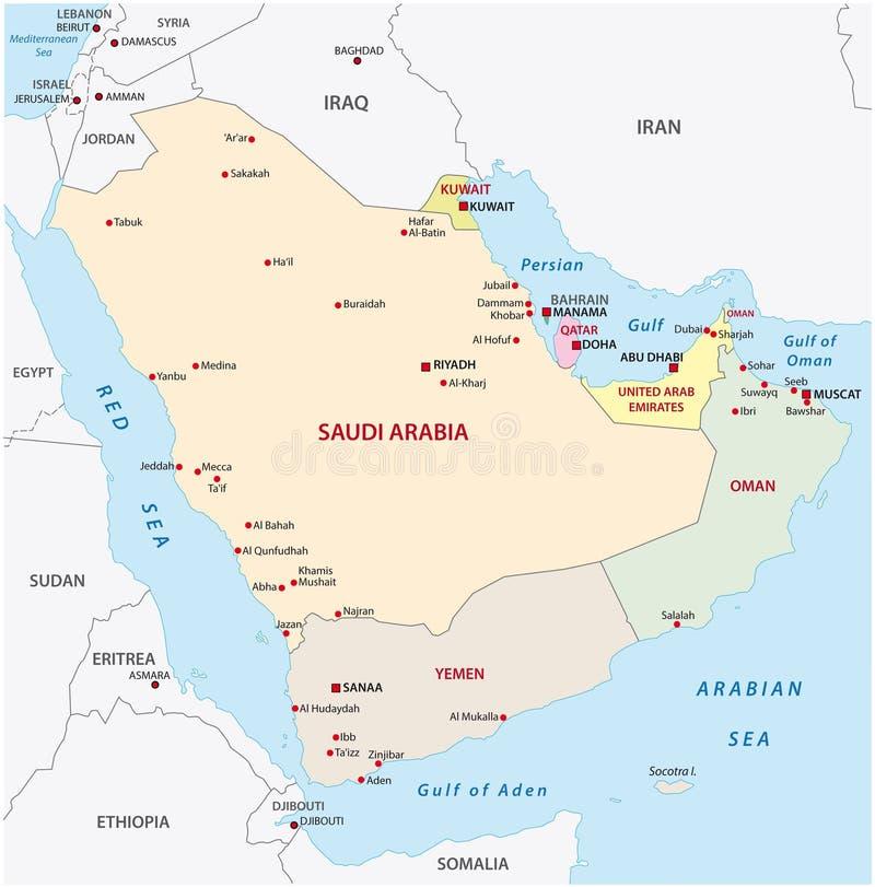 阿拉伯映射半岛 库存例证