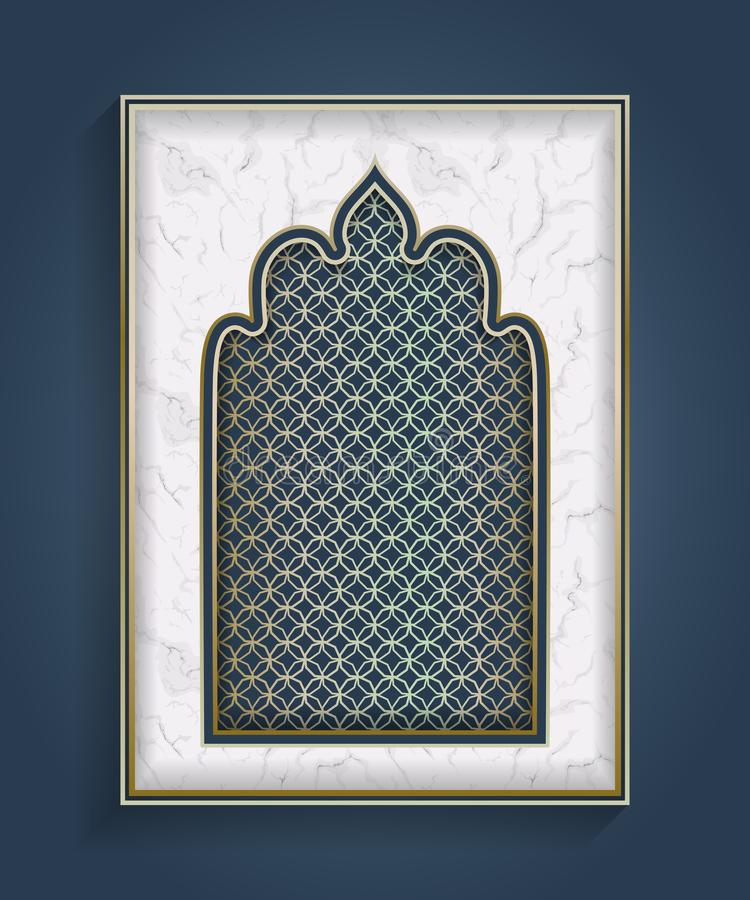 阿拉伯曲拱 在白色大理石背景的传统伊斯兰教的装饰品 清真寺装饰设计元素 向量例证