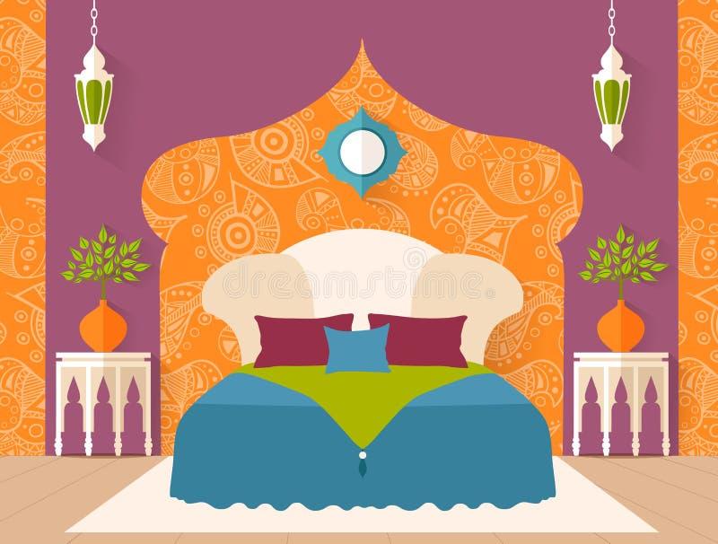 阿拉伯样式的传染媒介卧室 库存例证