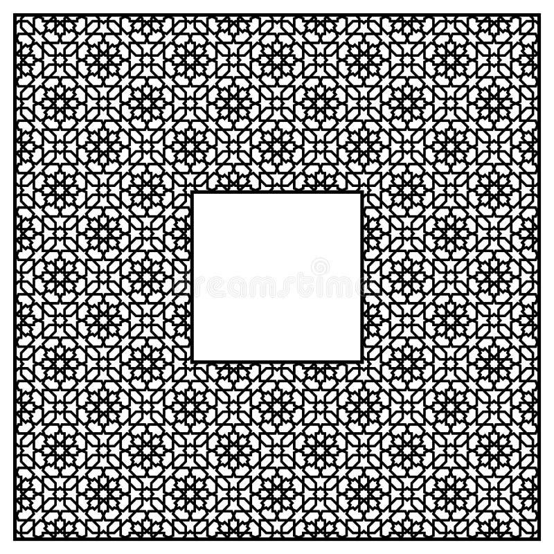 阿拉伯样式的方形的框架的三由三个块 向量例证