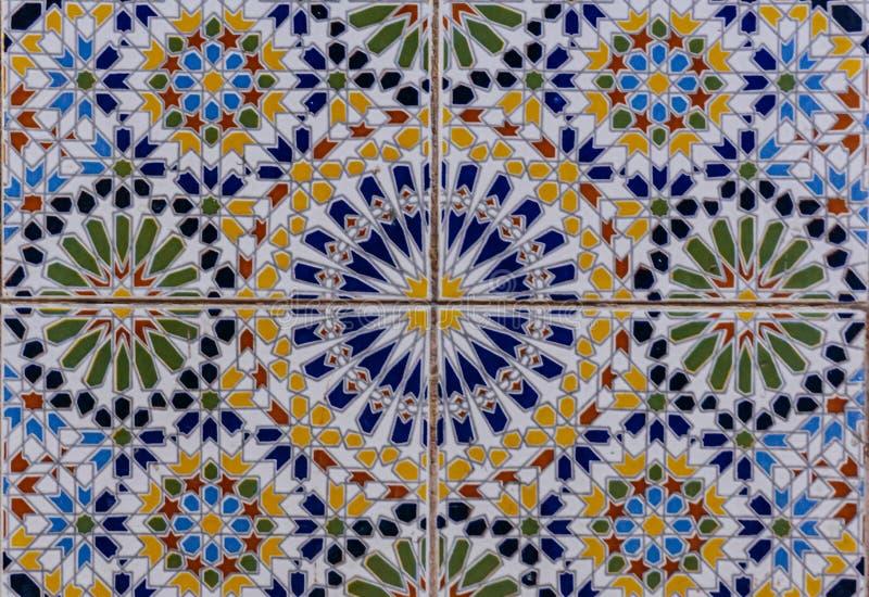阿拉伯样式,东方伊斯兰教的装饰品 摩洛哥瓦片或者摩洛哥zellij传统马赛克 免版税库存照片
