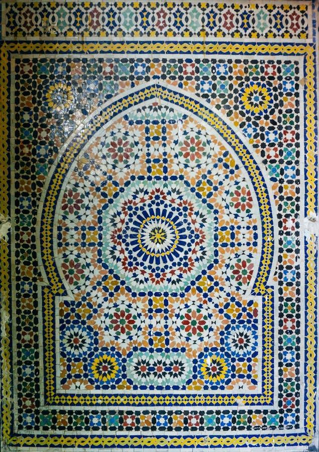 阿拉伯样式,东方伊斯兰教的装饰品 摩洛哥瓦片或者摩洛哥zellij传统马赛克 免版税库存图片
