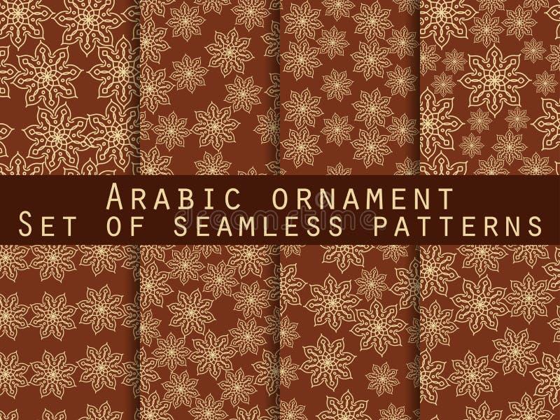 阿拉伯模式 伊斯兰装饰品 仿造无缝的集 对墙纸,床单,瓦片,织品,背景 皇族释放例证