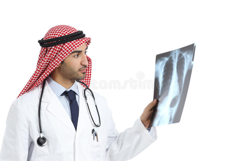 阿拉伯沙特酋长管辖区医治看造影诊断的人 库存照片