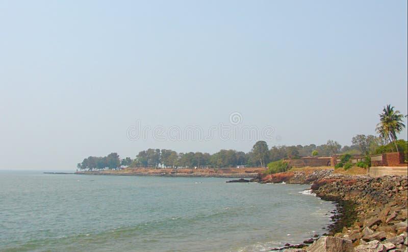 阿拉伯海看法从圣安吉洛` s堡垒, Kannur,喀拉拉,印度的 免版税图库摄影