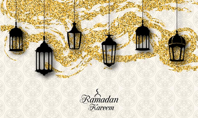 阿拉伯灯笼,赖买丹月的Kareem,伊斯兰教的闪烁卡片Fanoos 库存例证