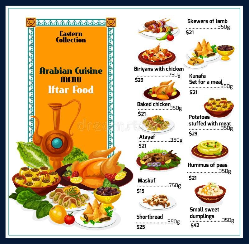 阿拉伯烹调传统盘食物菜单 向量例证